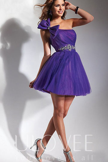 Beaded Applique One Shoulder A-line Taffeta&Tulle Short Prom/Cocktail Dress