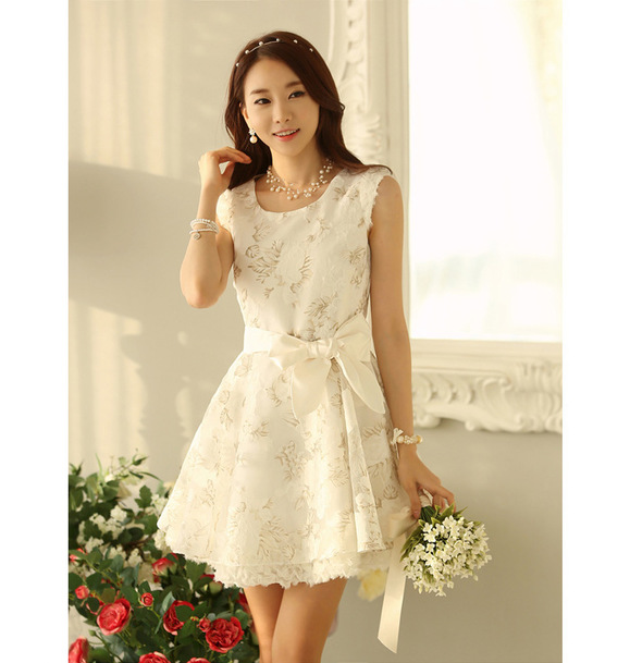 Women Summer Elegant Sweet Lace Ball Gown Dress