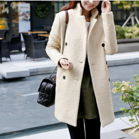 Women Stylish Double Breasted Furry Collar Classy Wool Coat