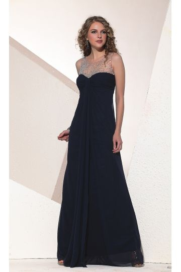 Chiffon Round Neck Semi-sheer Beaded A-line Formal Dress