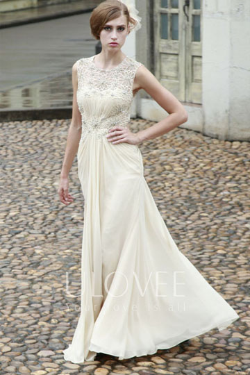 Beige Beaded Lace Round Neck A-line Chiffon Evening Dress