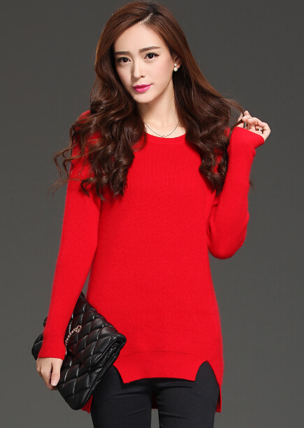 Women Casual Round Neck Brief Pullover Solid Sweater