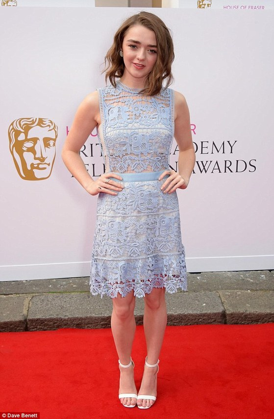 Maisie Williams stunned in a lilac crochet dress and white sandals as she walked the TV BAFTA red carpet in London on Sunday night